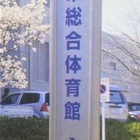 制作例公共施設入口に施工するタワー看板高級感のあるステンレス素材の体育館の看板