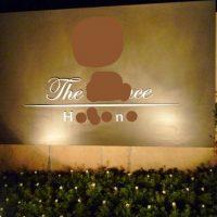 制作例エントランスサイン・ロゴ看板・カルプ文字・暗闇でも目立つスポットライト付き高級感のあるホテルのエントランスサイン