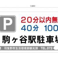 制作例駒ヶ谷駅駐車場料金表示板